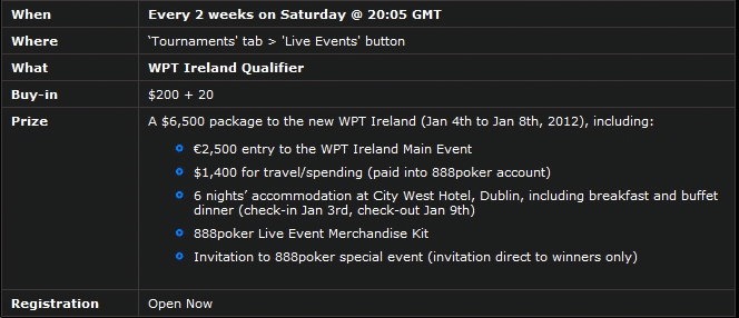 888Poker WPT Dublin Qualifying Dates & Prize Details