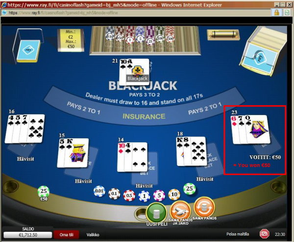Blackjack error in Finland's RAY online casino.