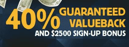 Betfair 40% Value Back and $2,500 Bonus