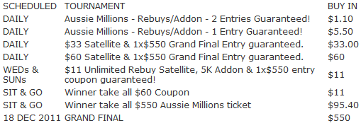 Black Chip Poker Aussie Millions Satellite Schedule