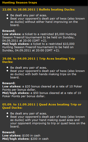 bwin Poker Hunting Season Details