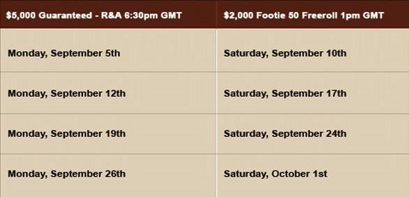 cake Poker Footie 50 Challenge Schedule