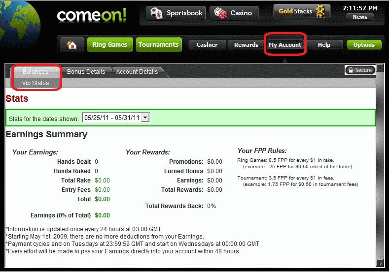 ComeOn! Poker Rake History