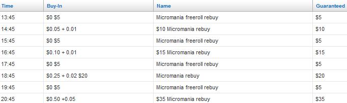 Coral Poker Micromania Schedule