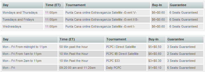 Punta Cana Satellite Schedule