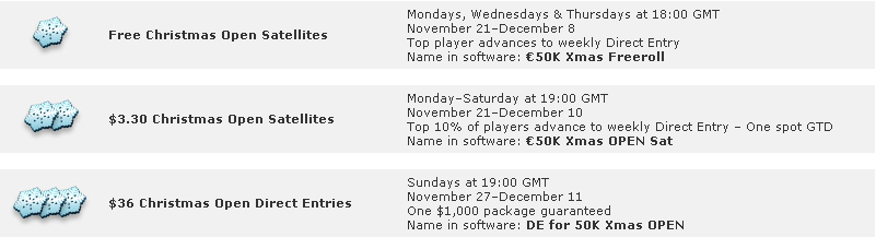 Everest Poker 50K Guaranteed Christmas Open Satellites