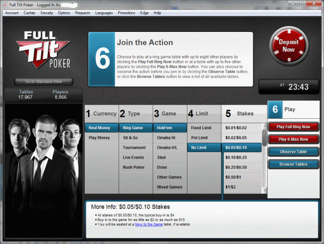 Full Tilt Poker software basic view.