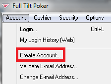 Full Tilt Poker download and account creation.
