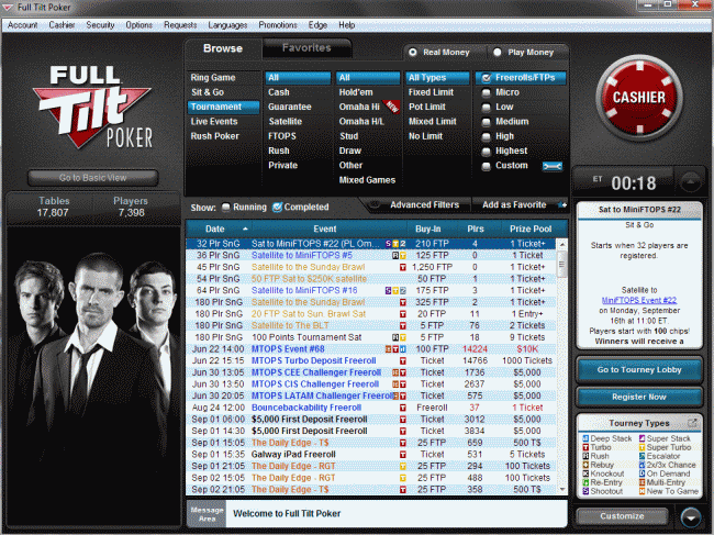 Freerolls at Full Tilt Poker Lobby