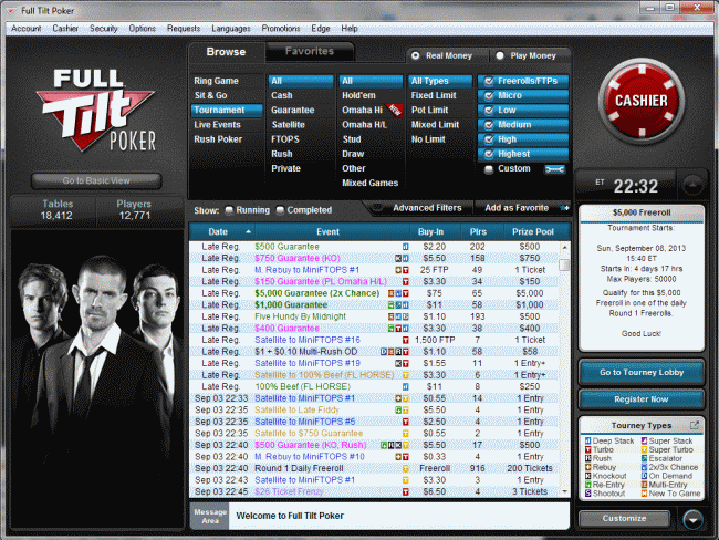 Full Tilt Poker software lobby.