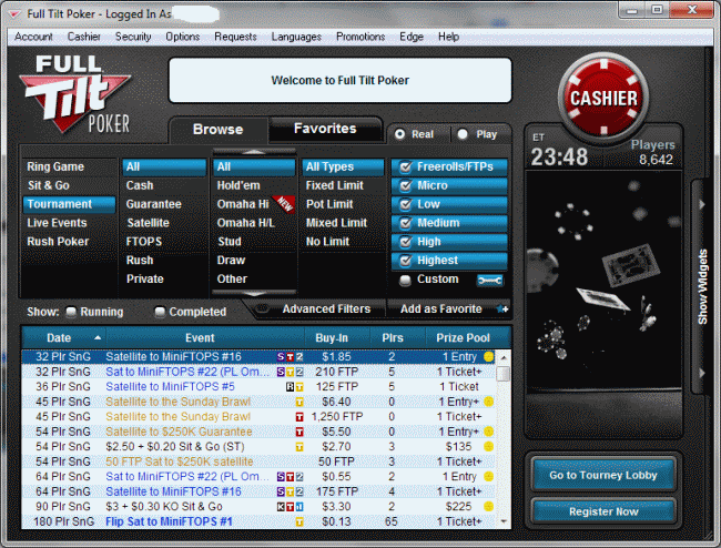 Full Tilt Poker Mini View