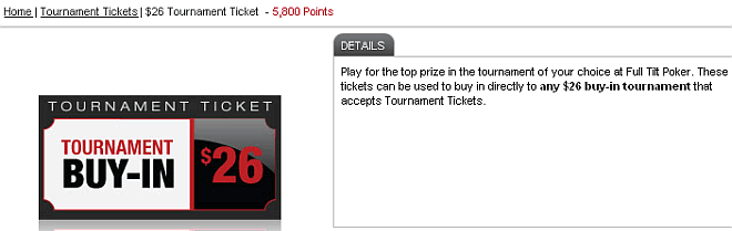 Buy tournament tickets from Full Tilt Poker store.