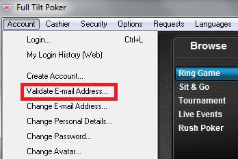 Full Tilt Poker download and email validation step.