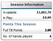 Full Tilt software widget, session info.