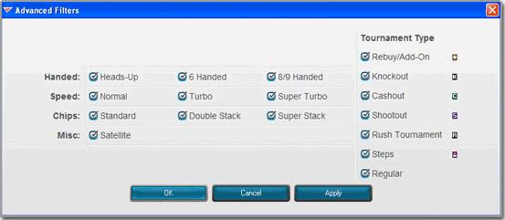 Full Tilt Poker Tournament Filters
