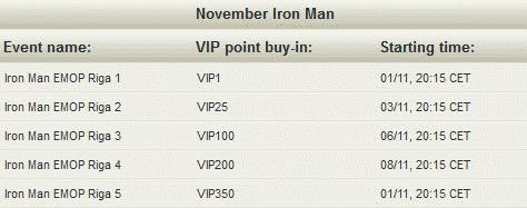 NoiQ Poker November Iron Man Schedule