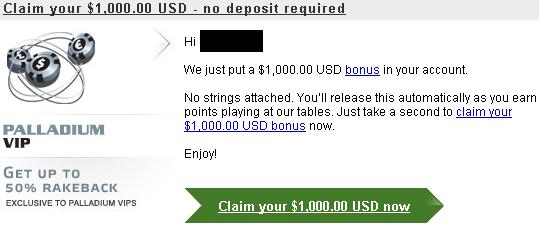 Party Poker $1K Free Bonus
