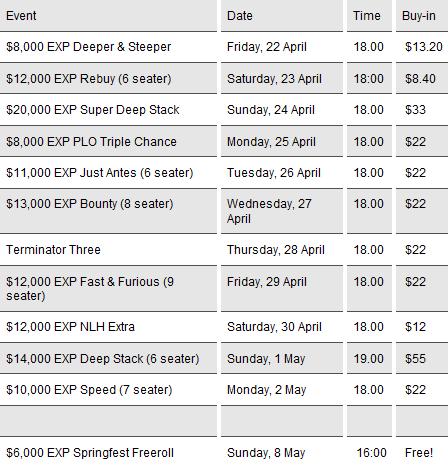 PKR Springfest Schedule