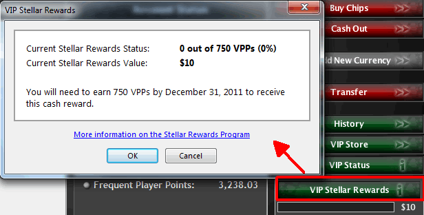 Stellar Rewards in PokerStars Cashier.
