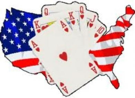 USA map and poker cards