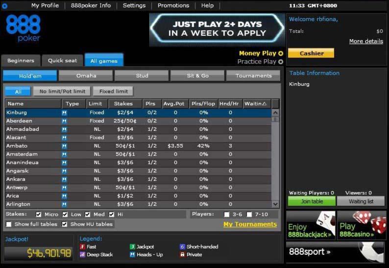 888 Poker Rake