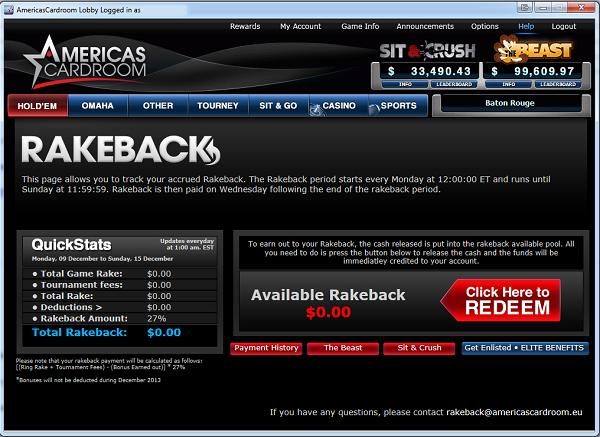 Americas Cardroom Rakeback Page