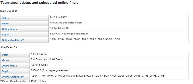 Coral Poker WSOP Satellite Schedule