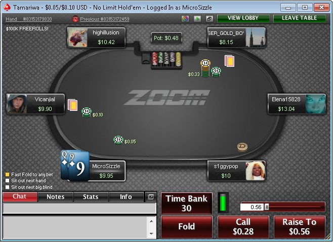 PokerStars Fast Fold Format - Zoom Poker