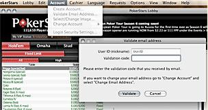 Validate your new Poker Stars Mac account.