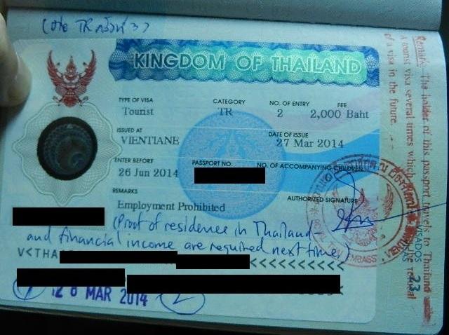 Thailand Visas - Red Stamp in Vientiane